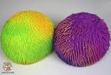 Шар мягкий резиновый мохнатый D-008 большой 28см (желто-зеленый) - Код-1195